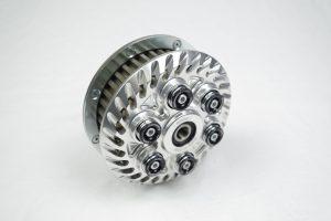 Einstellbare sechsfeder Antiopping Kupplung der Firma Kbike in der Farbe silber ohne Spinnfeder, mit Kupplungskorb (CAMP002D)